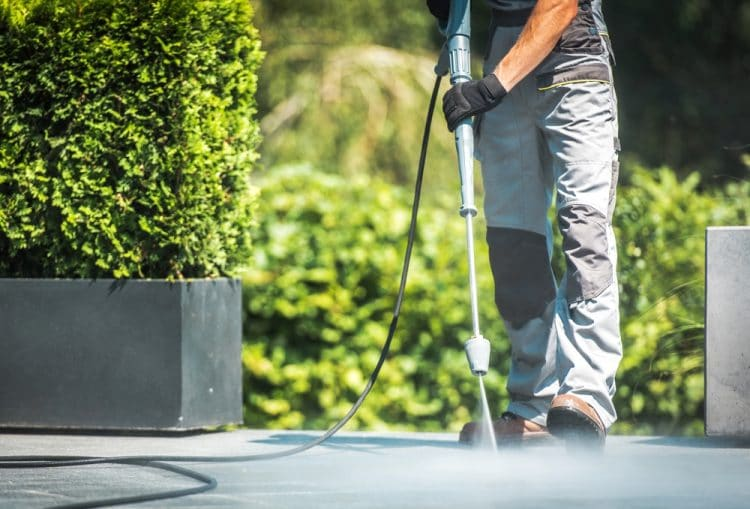 Patio pressure washer cleaning