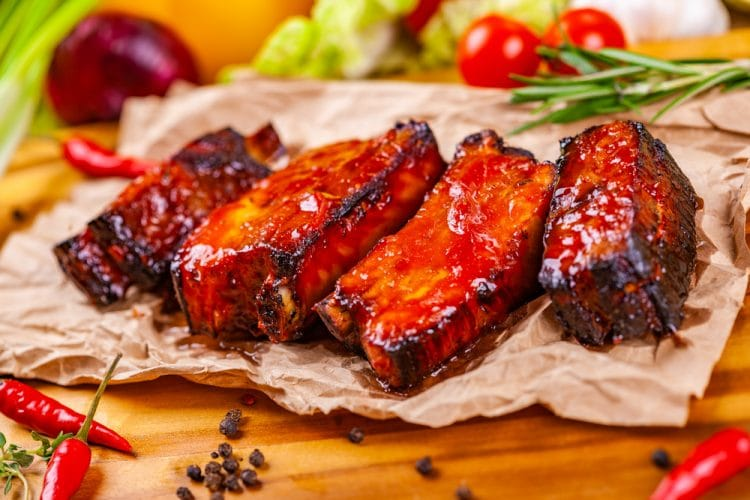 Grilled ribs with BBQ sauce