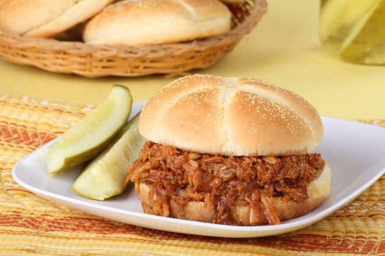 Pulled Pork BBQ White Bread Sandwich