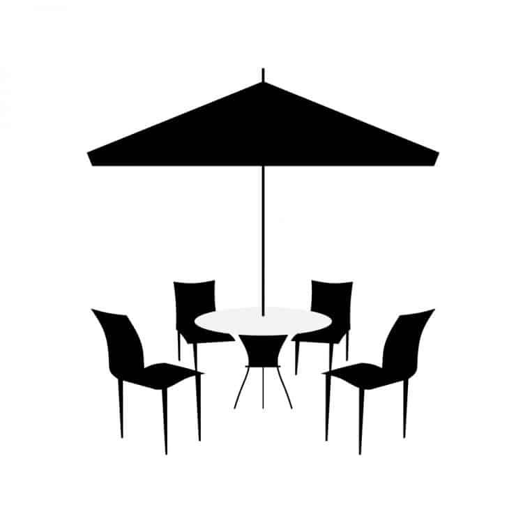 black patio umbrella