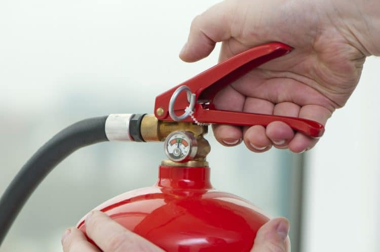 Storing home fire extinguishers