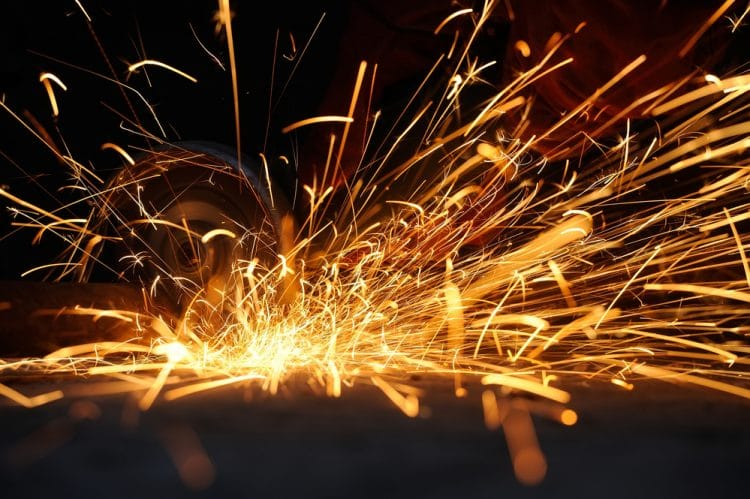 Power drill sparks